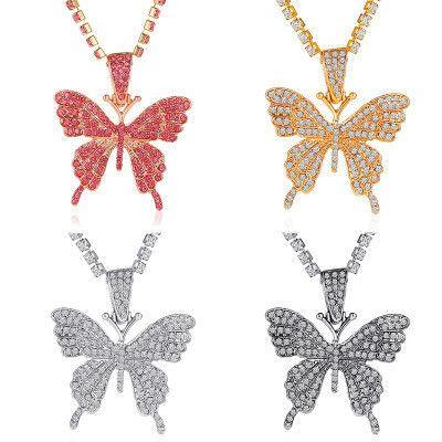 nouvelle chaîne de griffe à une couche incrustée exagérée grand collier pendentif papillon en gros nihaojewelry NHMO240345's discount tags
