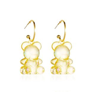 new  cute transparent cartoon bear  personality three-dimensional candy texture animal earrings wholesale  NHMO240347's discount tags