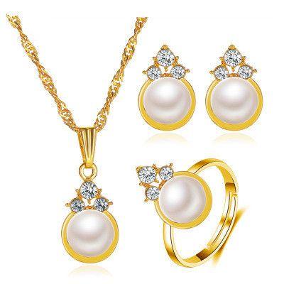 nouvelles boucles d'oreilles de mode bagues colliers ensemble trois pièces dames ensemble de perles all-match en gros NHMO240353's discount tags