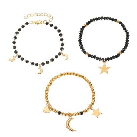 new fashion three-piece bracelet ladies handmade black beaded star moon bracelet wholesale nihaojewelry NHMO240355's discount tags