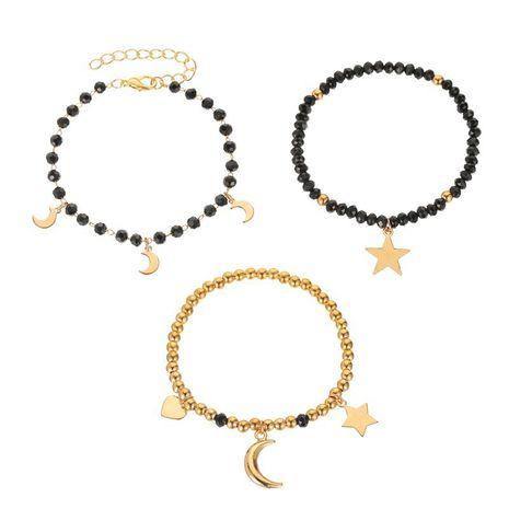 nouvelle mode trois pièces bracelet dames fait à la main noir perlé étoile lune bracelet en gros nihaojewelry NHMO240355's discount tags