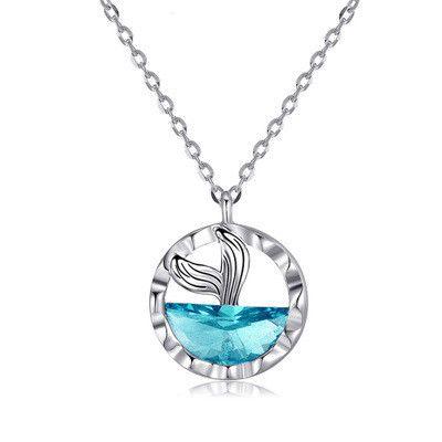 nouveau créatif queue de poisson océan bleu cristal pendentif bleu sirène clavicule chaîne collier en gros nihaojewelry NHMO240360's discount tags
