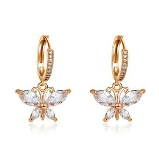 new all-match  crystal butterfly super flash zircon butterfly earrings wholesale   NHMO240362's discount tags