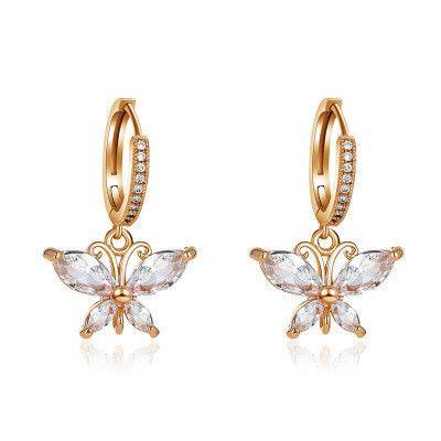 nouvelles boucles d'oreilles papillon en cristal super flash zircon tout assorties en gros NHMO240362's discount tags