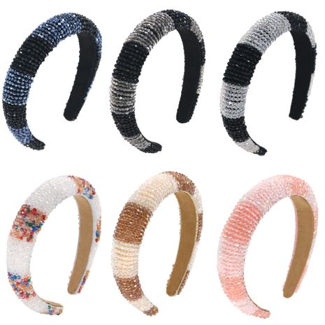 hot selling glass beads mix and match color hair band crystal clear hand-sewn  hair band NHCO240367's discount tags