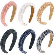 Baroque simple  six-color glass beads big beads sponge headband  NHCO240368