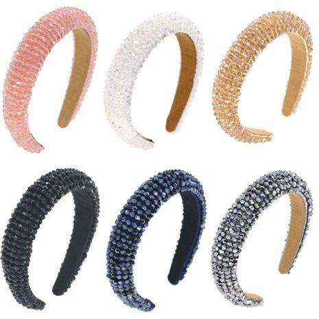 Baroque simple  six-color glass beads big beads sponge headband  NHCO240368's discount tags