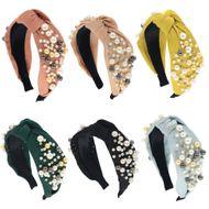 fashion pearl wide version headband six-color knotted  headband  wholesale NHCO240369