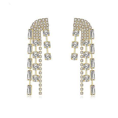 fashion new alloy diamond tassel long earrings wholesale nihaojewelry NHVA240388's discount tags
