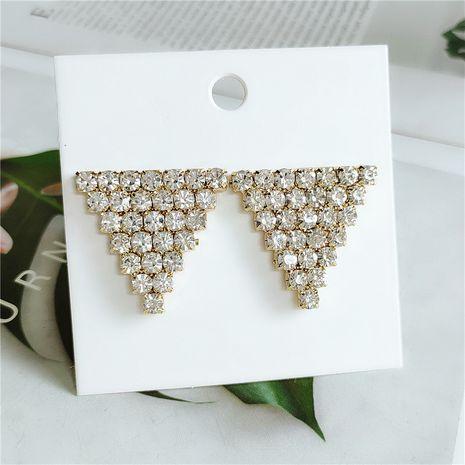 Korean new fashion selling geometric alloy diamond earrings wholesale nihaojewelry NHVA240389's discount tags