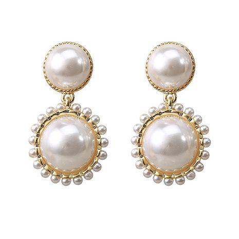 hot selling retro alloy earrings Korean fashion trend pearl earrings wholesale nihaojewelry NHVA240393's discount tags