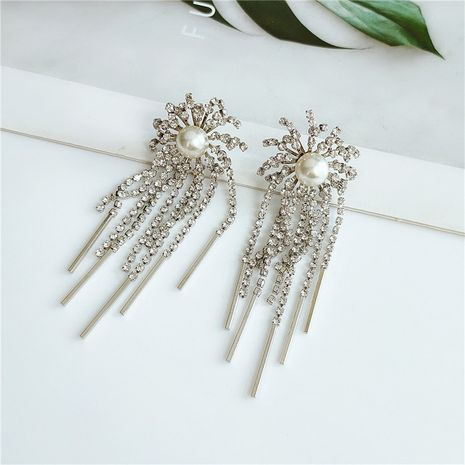 fashion  retro exaggerated  alloy pearl tassel earrings wholesale nihaojewelry NHVA240395's discount tags