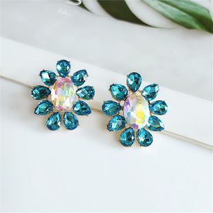 fashion diamonds flowers exaggerated earrings wholesale nihaojewelry NHVA240399's discount tags