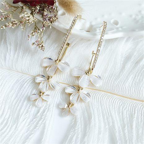 Korean fashion alloy long flower  retro crystal diamond earrings wholesale nihaojewelry NHVA240400's discount tags