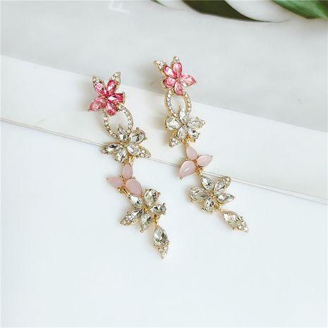 new trendy  long flower diamond earrings wholesale  NHVA240401's discount tags