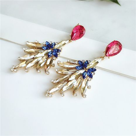 retro alloy geometric diamond flower earrings  wholesale  NHVA240402's discount tags
