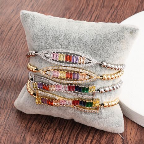 Creative Korean copper micro-inlaid color zircon hip-hop couple bracelet jewelry wholesale nihaojewelry NHJE240408's discount tags