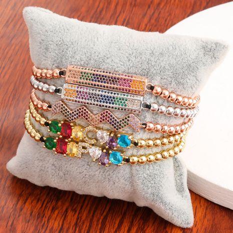 exquisite copper micro-inlaid color zircon hip-hop letter couple bracelet Korean jewelry wholesale nihaojewelry NHJE240410's discount tags