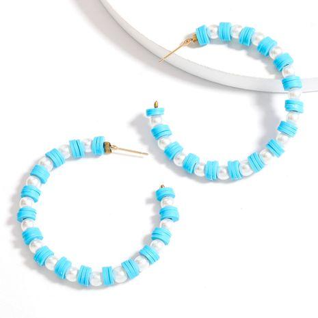 imitation pearl soft ceramic small disc C-shaped retro bohemian earrings wholesale nihaojewelry NHJE240411's discount tags