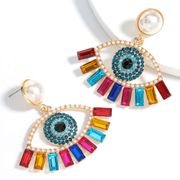color diamond series alloy inlaid pearl acrylic eye ethnic style earrings wholesale nihaojewelry NHJE240413