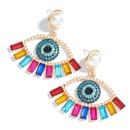 color diamond series alloy inlaid pearl acrylic eye ethnic style earrings wholesale nihaojewelry NHJE240413