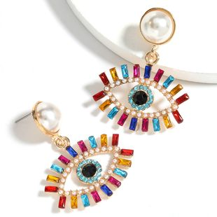 color diamond series alloy inlaid pearl acrylic eye earrings  wholesale nihaojewelry NHJE240414's discount tags