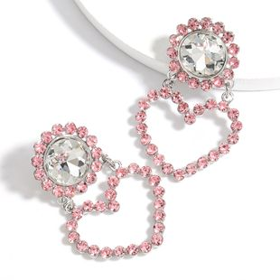 round heart-shaped alloy diamonds rhinestones glass diamonds exaggerated earrings wholesale nihaojewelry NHJE240419's discount tags