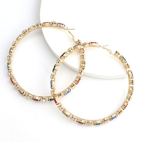 aleación exagerada diamante rhinestone ear hoop moda mujer retro generosos pendientes venta al por mayor nihaojewelry NHJE240420's discount tags