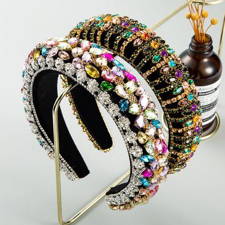 palace style rhinestone  retro velvet baroque wide edge headband wholesale nihaojewely NHLN240425's discount tags