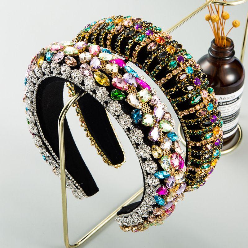 palace style rhinestone  retro velvet baroque wide edge headband wholesale nihaojewely NHLN240425