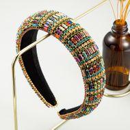 fashion retro velvet diamond headband new handmade wide-brim color headband wholesale nihaojewely NHLN240427