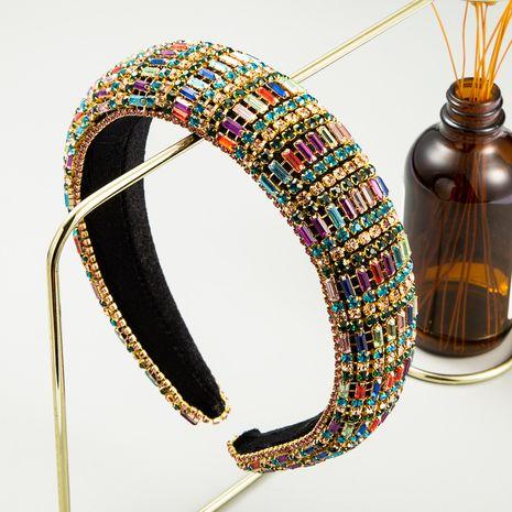 fashion retro velvet diamond headband new handmade wide-brim color headband wholesale nihaojewely NHLN240427's discount tags