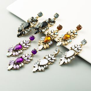 national style new alloy rhinestone exaggerated long earrings wholesale nihaojewely NHLN240428's discount tags