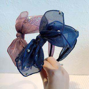 Korean bow fashion new  wild simple diamond  beautiful mesh headband NHOF240443's discount tags