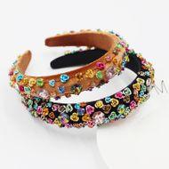 New Fashion  Baroque Metal Color Rhinestone Flower Sponge Flower Headband  NHWJ240451