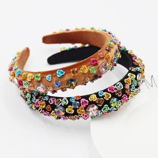 New Fashion  Baroque Metal Color Rhinestone Flower Sponge Flower Headband  NHWJ240451's discount tags