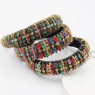 Baroque personality luxury full diamond sponge headband  color rhinestone full diamond  shining headband  NHWJ240453