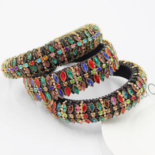 Baroque personality luxury full diamond sponge headband  color rhinestone full diamond  shining headband  NHWJ240453's discount tags