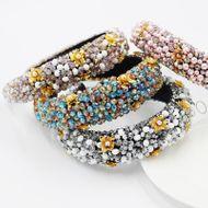 Fashion Baroque Crystal Bead Thickened Sponge Gold Wire  Women's Pearl Flower Headband NHWJ240458