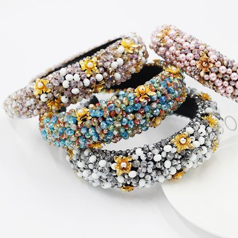 Fashion Baroque Crystal Bead Thickened Sponge Gold Wire  Women's Pearl Flower Headband NHWJ240458's discount tags