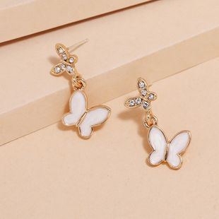 Simple  Korean fashion diamond butterfly earrings wholesale nihaojewely NHKQ240460's discount tags