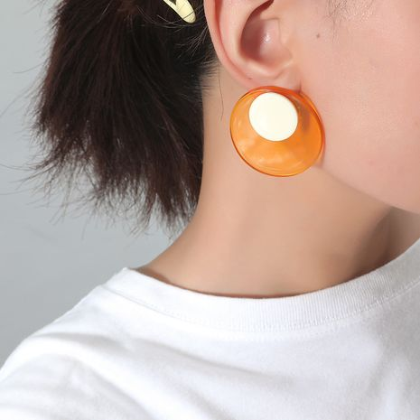 simple  sweet fashion new acrylic transparent  double round earrings wholesale nihaojewely NHKQ240471's discount tags