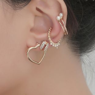 Korean geometric pearl love diamond 6-piece combination earrings set wholesale nihaojewelry NHKQ240481's discount tags