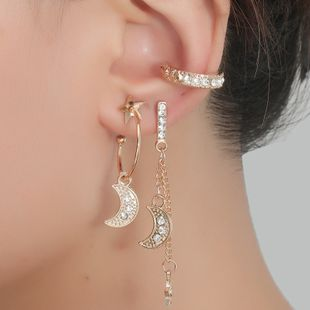 Fashion simple  compact all-match diamond-studded star and moon combination 5 piece earrings wholesale nihaojewelry NHKQ240482's discount tags