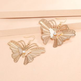 Korean fashion simple earrings retro hollow diamond alloy butterfly earrings wholesale nihaojewelry NHKQ240487's discount tags