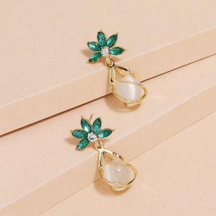 Fashion All-match S925 Silver Needle Opal Green Diamond Flower Earrings wholesale nihaojewelry NHKQ240488's discount tags