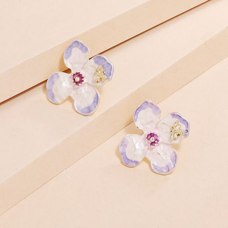 new retro S925 silver needle earrings fashion simple dripping gradient color flower earrings wholesale nihaojewelry NHKQ240491's discount tags