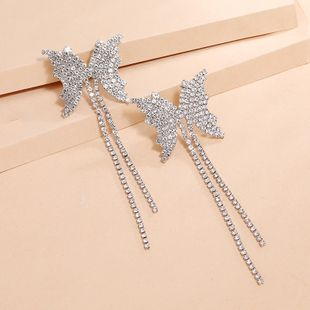 fashion exaggerated creativity S925 silver needle simple full diamond butterfly tassel earrings wholesale nihaojewelry NHKQ240492's discount tags