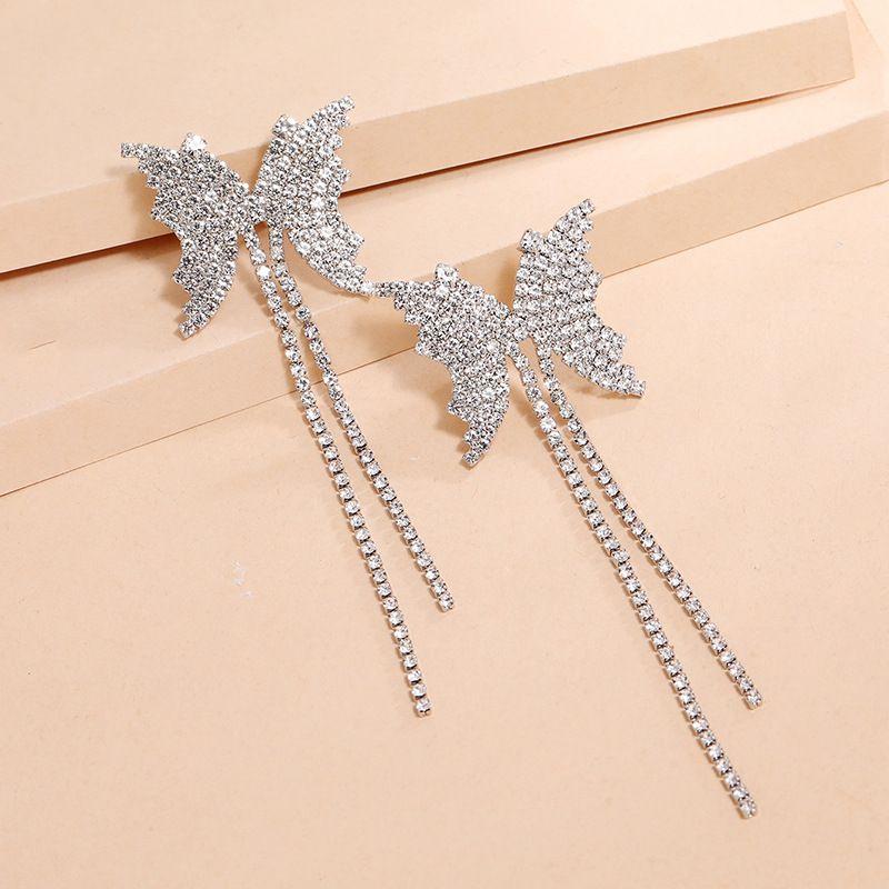 fashion exaggerated creativity S925 silver needle simple full diamond butterfly tassel earrings wholesale nihaojewelry NHKQ240492