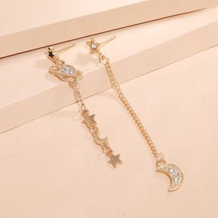 Fashion creative earrings Korean new asymmetrical star moon earrings wholesale nihaojewelry NHKQ240497's discount tags